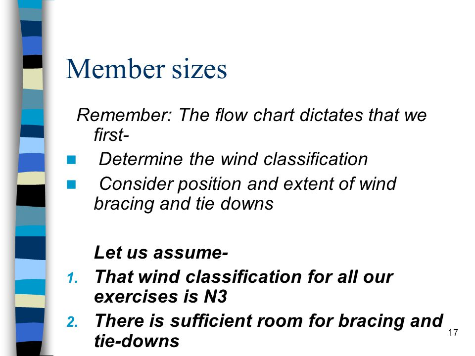 17 Member sizes Remember: The flow chart dictates that we first- Determine the wind classification Consider position and extent of wind bracing and ti