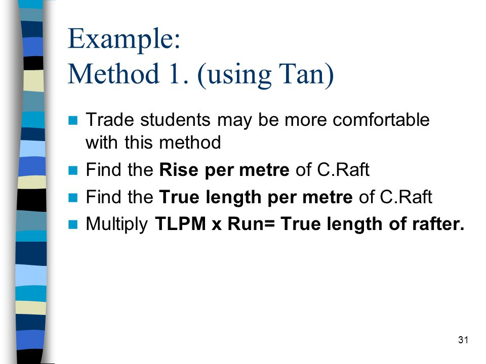 31 Example: Method 1. (using Tan) Trade students may be more comfortable with this method Find the Rise per metre of C.Raft Find the True length per m