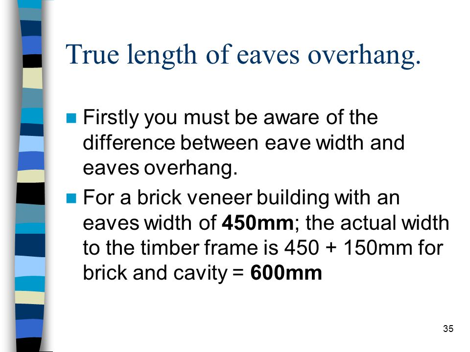 35 True length of eaves overhang. Firstly you must be aware of the difference between eave width and eaves overhang. For a brick veneer building with
