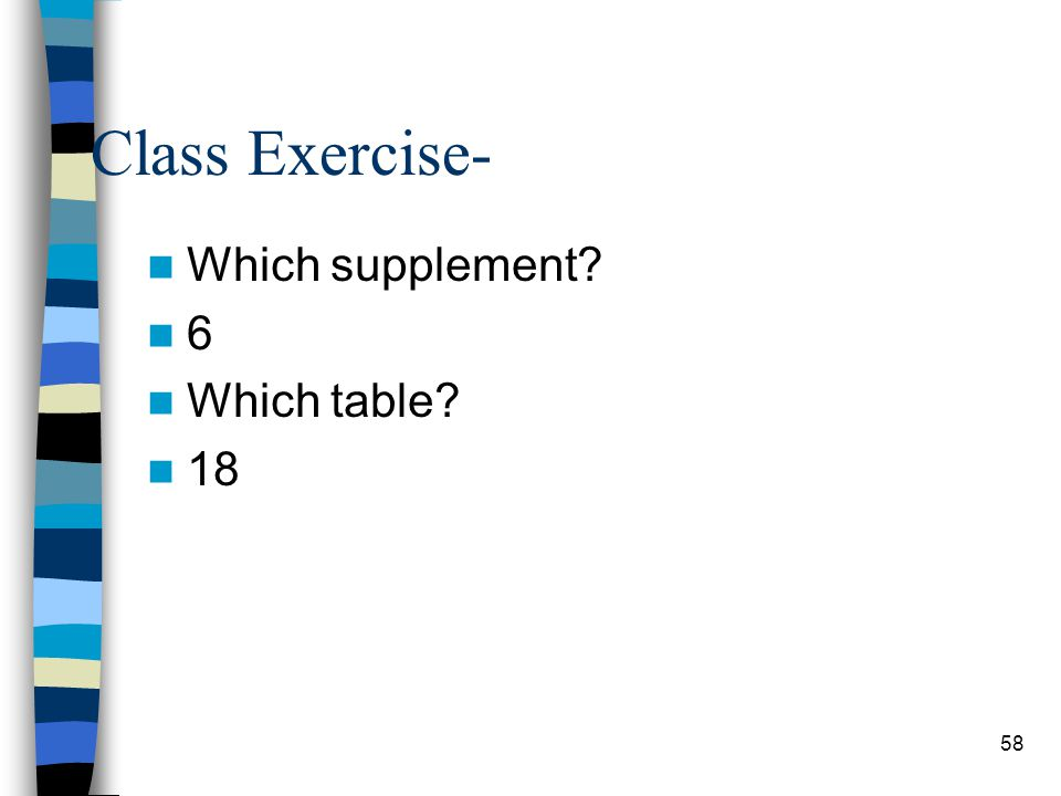 58 Class Exercise- Which supplement? 6 Which table? 18