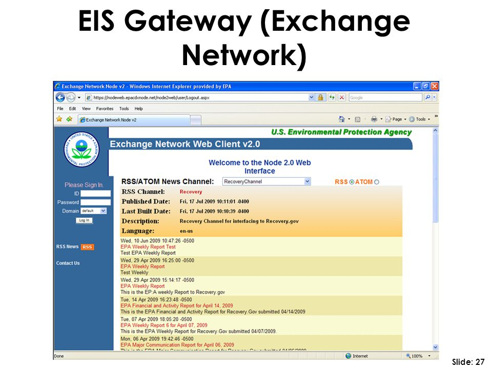 EIS Gateway (Exchange Network) Slide: 27