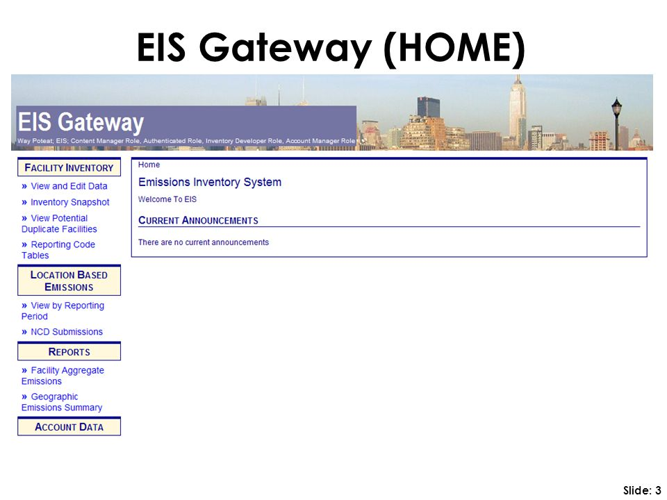 EIS Gateway (HOME) Slide: 3