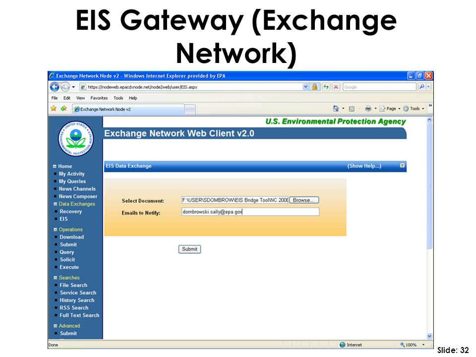 EIS Gateway (Exchange Network) Slide: 32