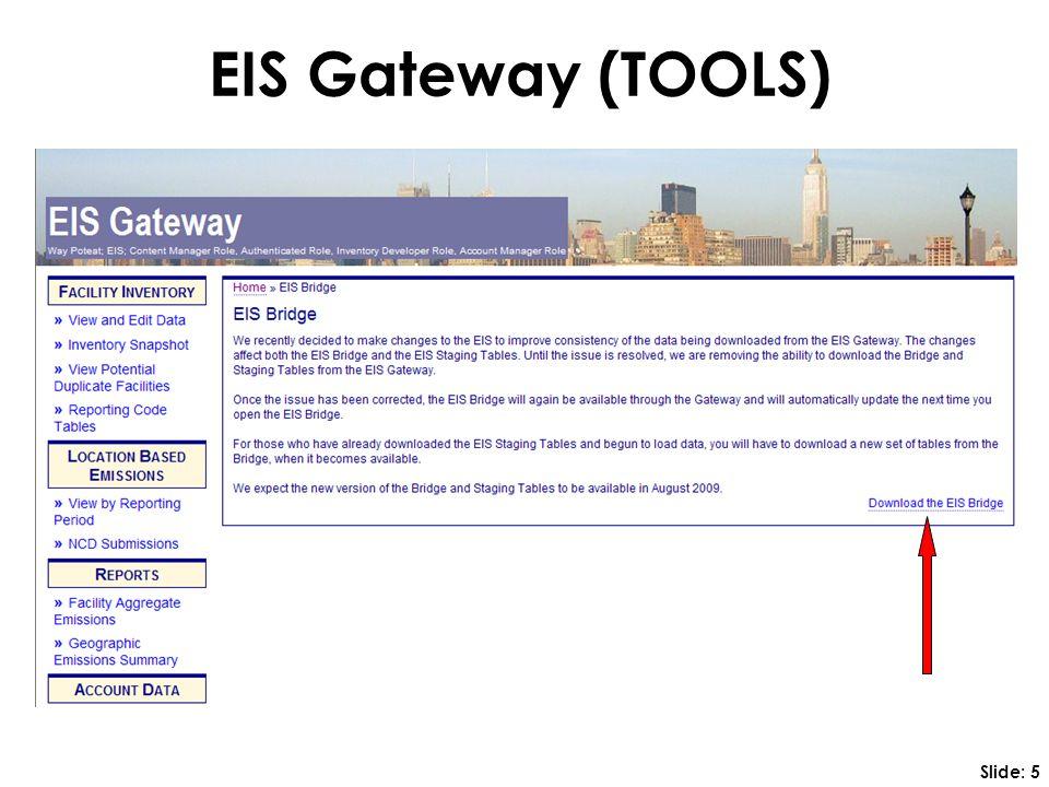 EIS Gateway (TOOLS) Slide: 5