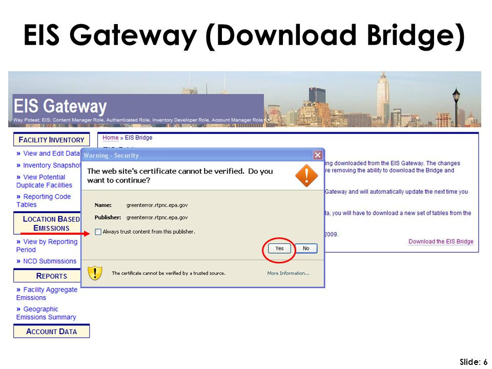 EIS Gateway (Download Bridge) Slide: 6