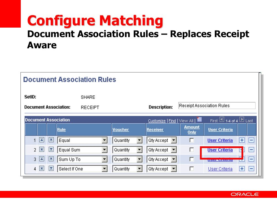 Configure Matching Configure Matching Document Association Rules – Replaces Receipt Aware It defines rules for finding a receipt and the sequence in w
