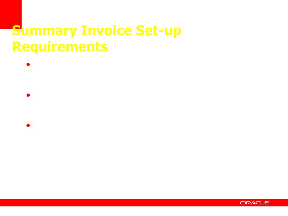 Summary Invoice Set-up Requirements Create a miscellaneous charge code Define tolerances on AP Business Unit Add miscellaneous charge to Accounting En