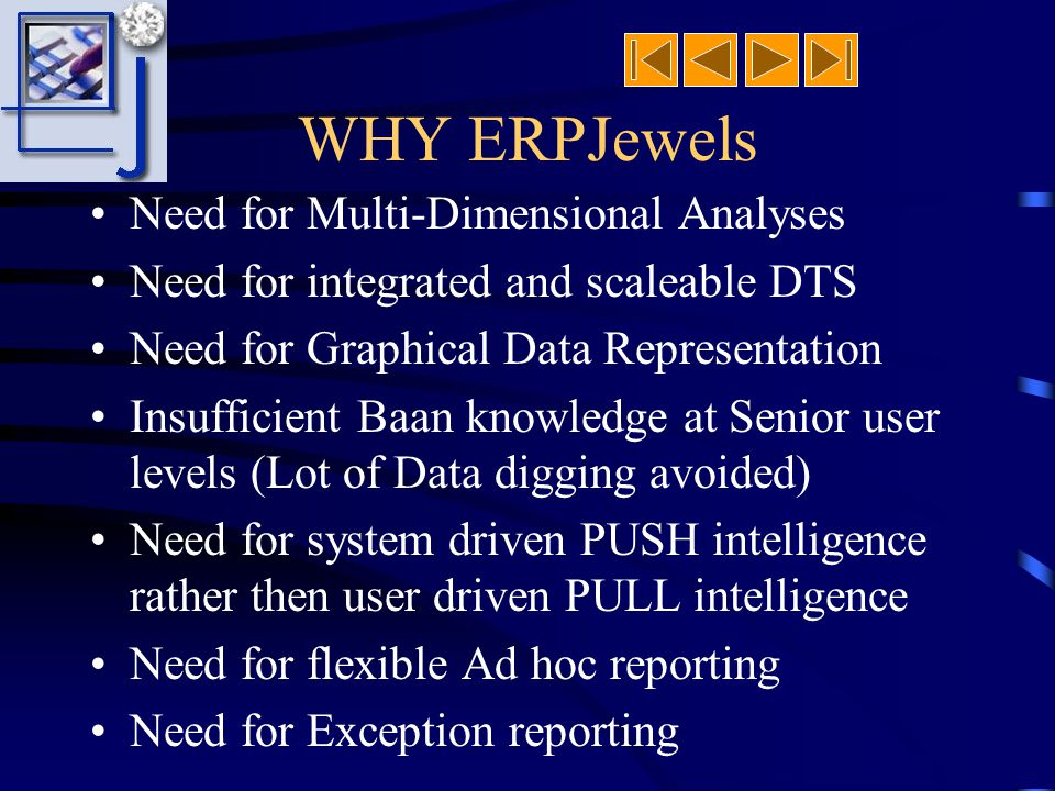 WHAT Is ERPJewels Tool to Extract, Transform (Baan 4 GL) and Load (Visual Basic) info Unique integrated DTS & BI Tool Automatic Analyses Results Gener