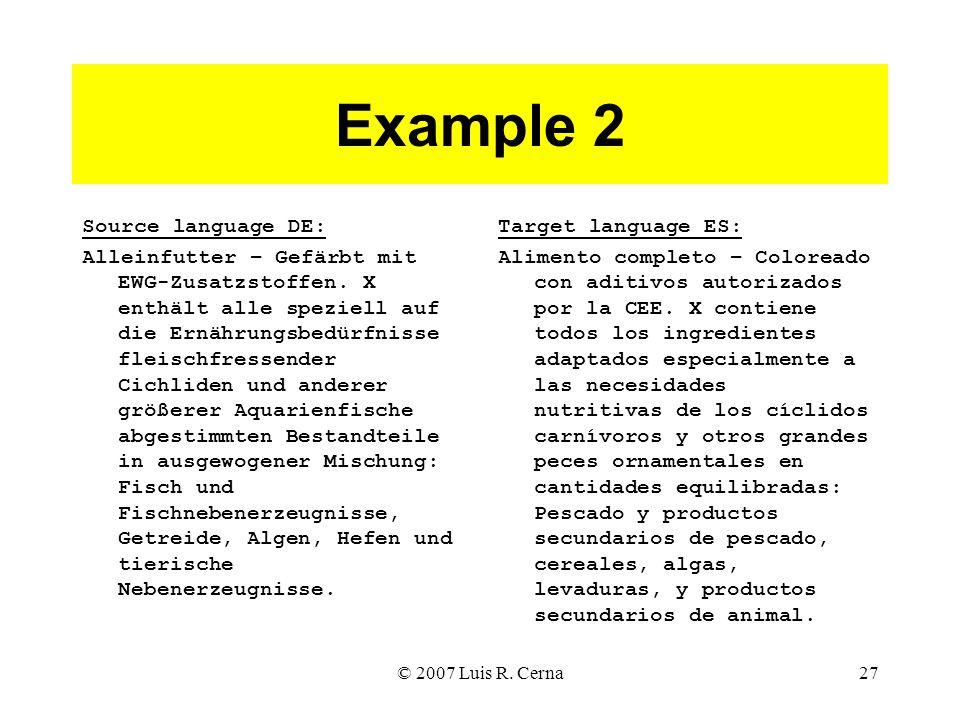 © 2007 Luis R. Cerna27 Example 2 Source language DE: Alleinfutter – Gefärbt mit EWG-Zusatzstoffen.