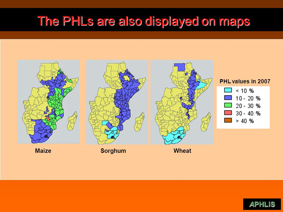 The PHLs are also displayed on maps The PHLs are also displayed on maps APHLlS PHL values in 2007 Maize Sorghum Wheat