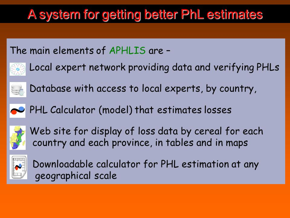 A system for getting better PhL estimates The main elements of APHLIS are – Local expert network providing data and verifying PHLs Database with access to local experts, by country, PHL Calculator (model) that estimates losses Web site for display of loss data by cereal for each country and each province, in tables and in maps Downloadable calculator for PHL estimation at any geographical scale
