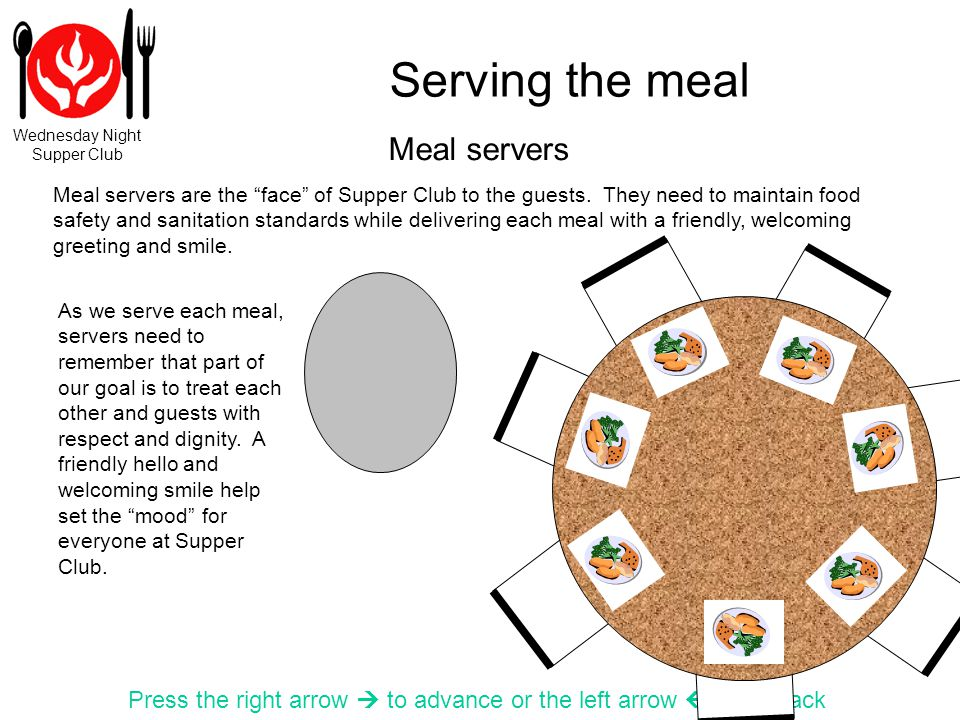 Wednesday Night Supper Club Serving the meal Press the right arrow to advance or the left arrow to go back Meal servers are the face of Supper Club to the guests.