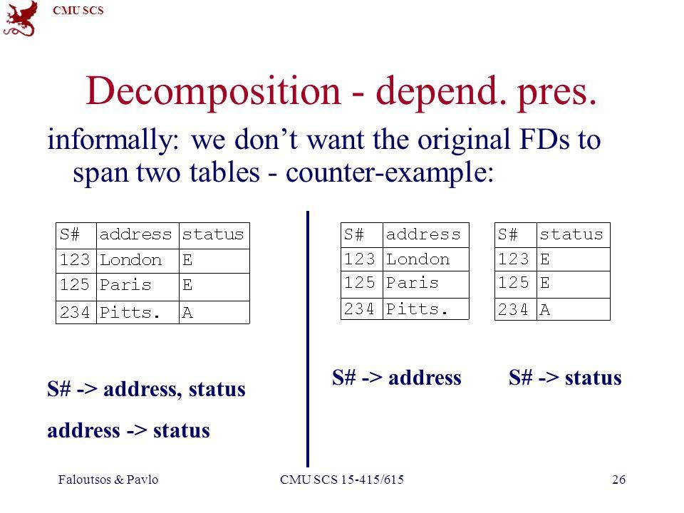 CMU SCS Faloutsos & PavloCMU SCS 15-415/61526 Decomposition - depend.