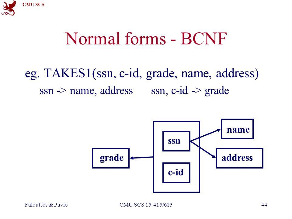 CMU SCS Faloutsos & PavloCMU SCS 15-415/61544 Normal forms - BCNF eg.