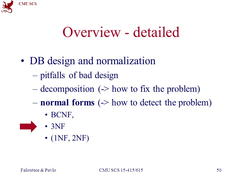CMU SCS Faloutsos & PavloCMU SCS 15-415/61550 Overview - detailed DB design and normalization –pitfalls of bad design –decomposition (-> how to fix the problem) –normal forms (-> how to detect the problem) BCNF, 3NF (1NF, 2NF)