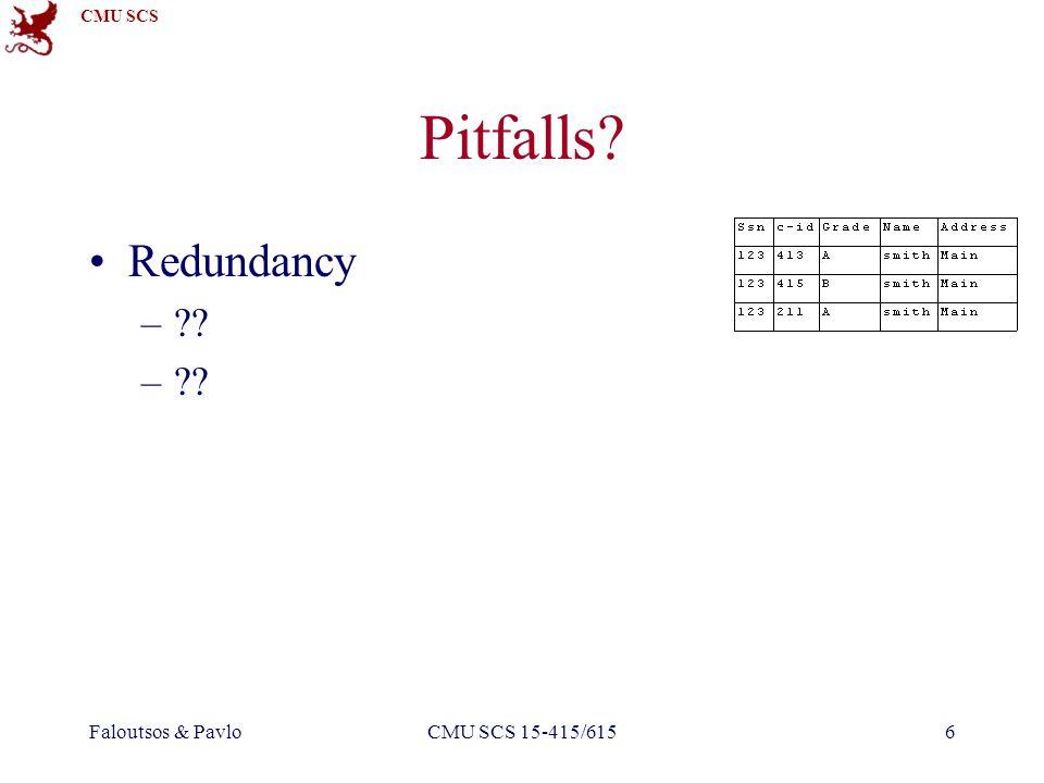 CMU SCS Faloutsos & PavloCMU SCS 15-415/6156 Pitfalls? Redundancy –??