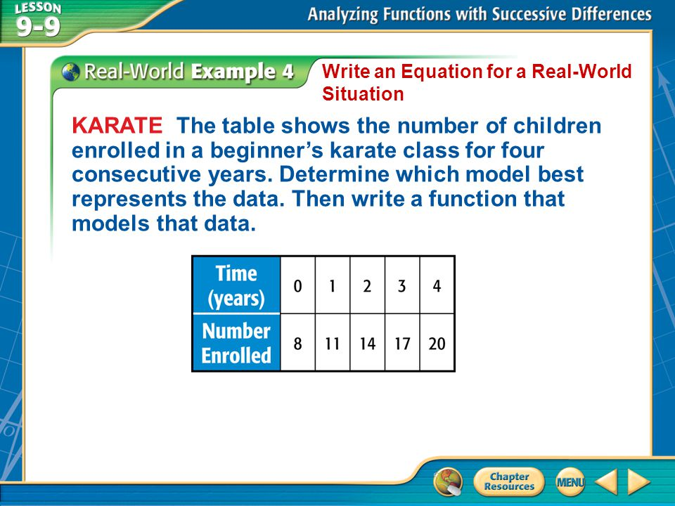Example 4 Write an Equation for a Real-World Situation KARATE The table shows the number of children enrolled in a beginners karate class for four con