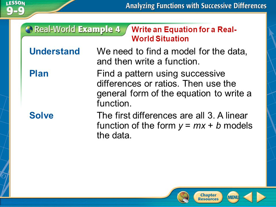 Example 4 Write an Equation for a Real- World Situation UnderstandWe need to find a model for the data, and then write a function. PlanFind a pattern