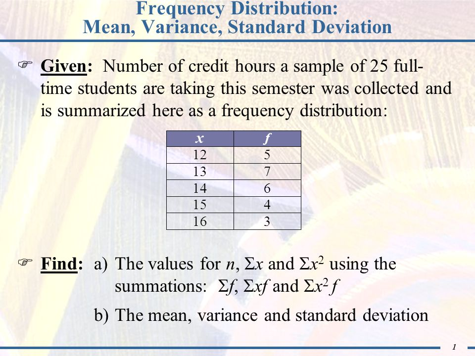 12 Finding the Sample Standard Deviation The standard deviation is the square root of variance: s = s 2 Therefore, the standard deviation is: s = s 2 = = 6.1367 The standard deviation is $6.14 = 6.14 Notes:1)The unit of measure for the standard deviation is the unit of the data 2)Use a non-rounded value of variance when calculating the standard deviation 37.6666