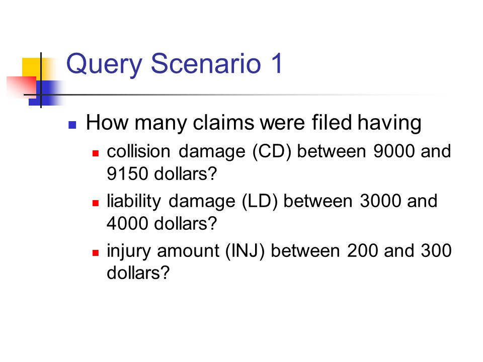Query Scenario 1 How many claims were filed having collision damage (CD) between 9000 and 9150 dollars.