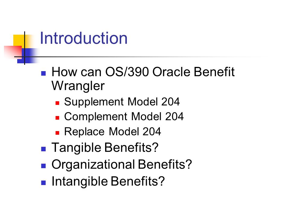 Introduction How can OS/390 Oracle Benefit Wrangler Supplement Model 204 Complement Model 204 Replace Model 204 Tangible Benefits.