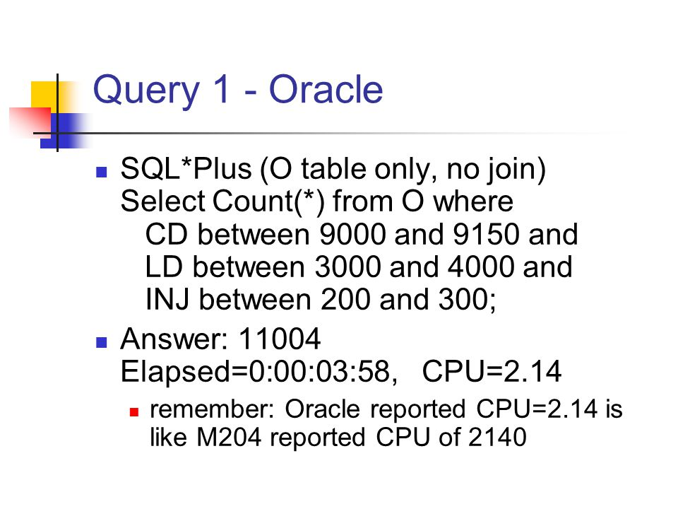 Query 1 - Oracle SQL*Plus (O table only, no join) Select Count(*) from O where CD between 9000 and 9150 and LD between 3000 and 4000 and INJ between 200 and 300; Answer: 11004 Elapsed=0:00:03:58, CPU=2.14 remember: Oracle reported CPU=2.14 is like M204 reported CPU of 2140