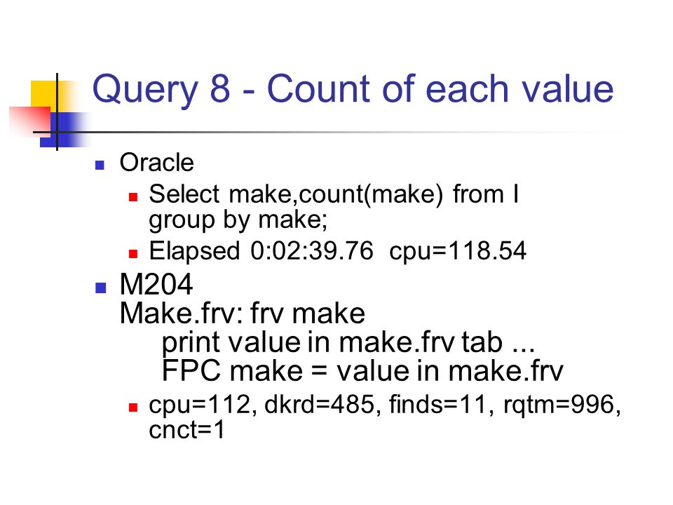 Query 8 - Count of each value Oracle Select make,count(make) from I group by make; Elapsed 0:02:39.76 cpu=118.54 M204 Make.frv: frv make print value in make.frv tab...