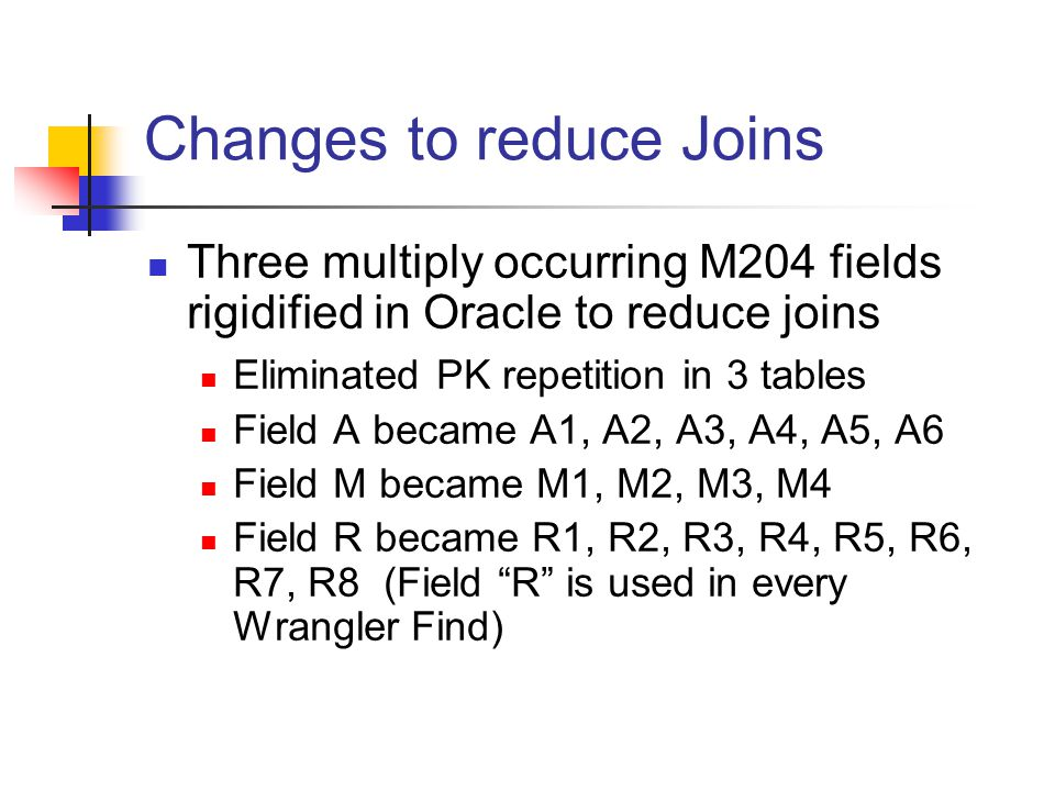 Changes to reduce Joins Three multiply occurring M204 fields rigidified in Oracle to reduce joins Eliminated PK repetition in 3 tables Field A became A1, A2, A3, A4, A5, A6 Field M became M1, M2, M3, M4 Field R became R1, R2, R3, R4, R5, R6, R7, R8 (Field R is used in every Wrangler Find)