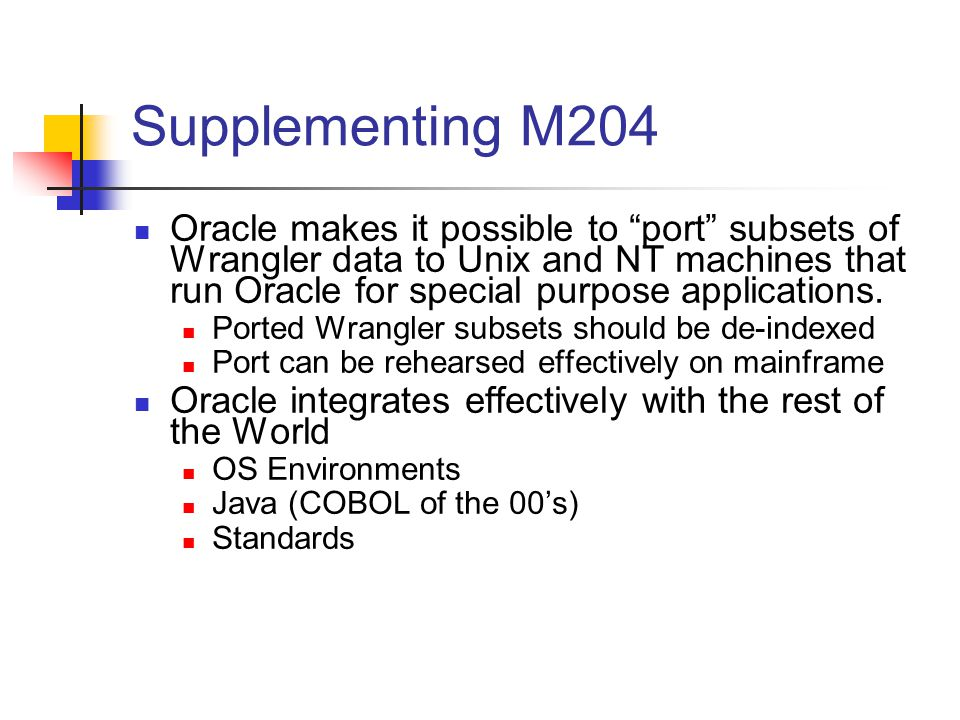 Supplementing M204 Oracle makes it possible to port subsets of Wrangler data to Unix and NT machines that run Oracle for special purpose applications.