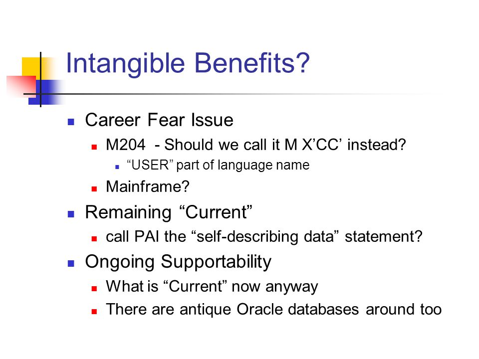 Intangible Benefits. Career Fear Issue M204 - Should we call it M XCC instead.