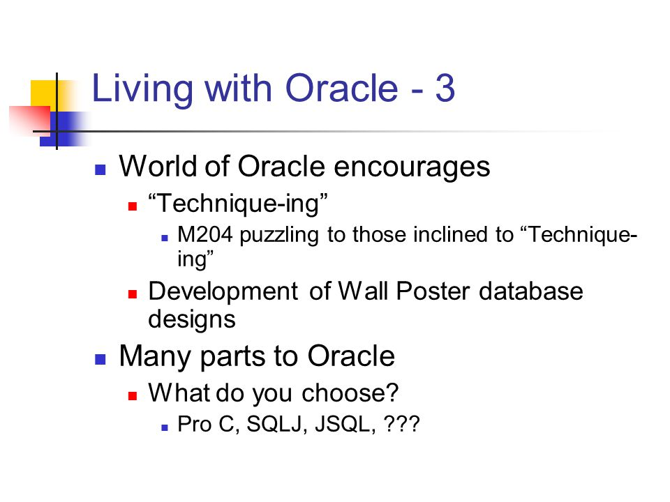 Living with Oracle - 3 World of Oracle encourages Technique-ing M204 puzzling to those inclined to Technique- ing Development of Wall Poster database designs Many parts to Oracle What do you choose.