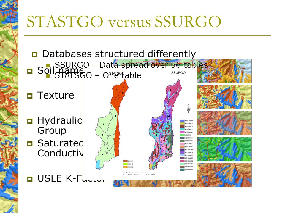 STASTGO versus SSURGO Soil name Texture Hydraulic Soil Group Saturated Conductivity USLE K-Factor Databases structured differently SSURGO – Data spread over 56 tables STATSGO – One table
