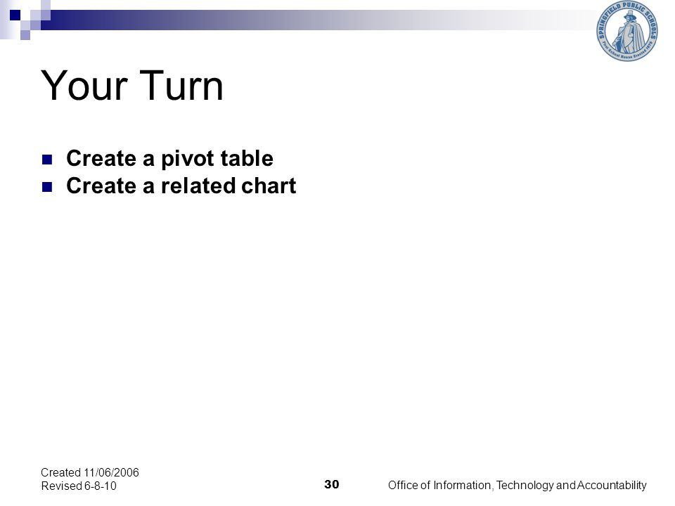 Your Turn Create a pivot table Create a related chart Office of Information, Technology and Accountability 30 Created 11/06/2006 Revised 6-8-10