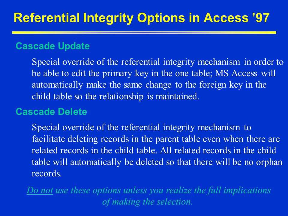 Referential Integrity Options in Access 97 Cascade Update Special override of the referential integrity mechanism in order to be able to edit the prim