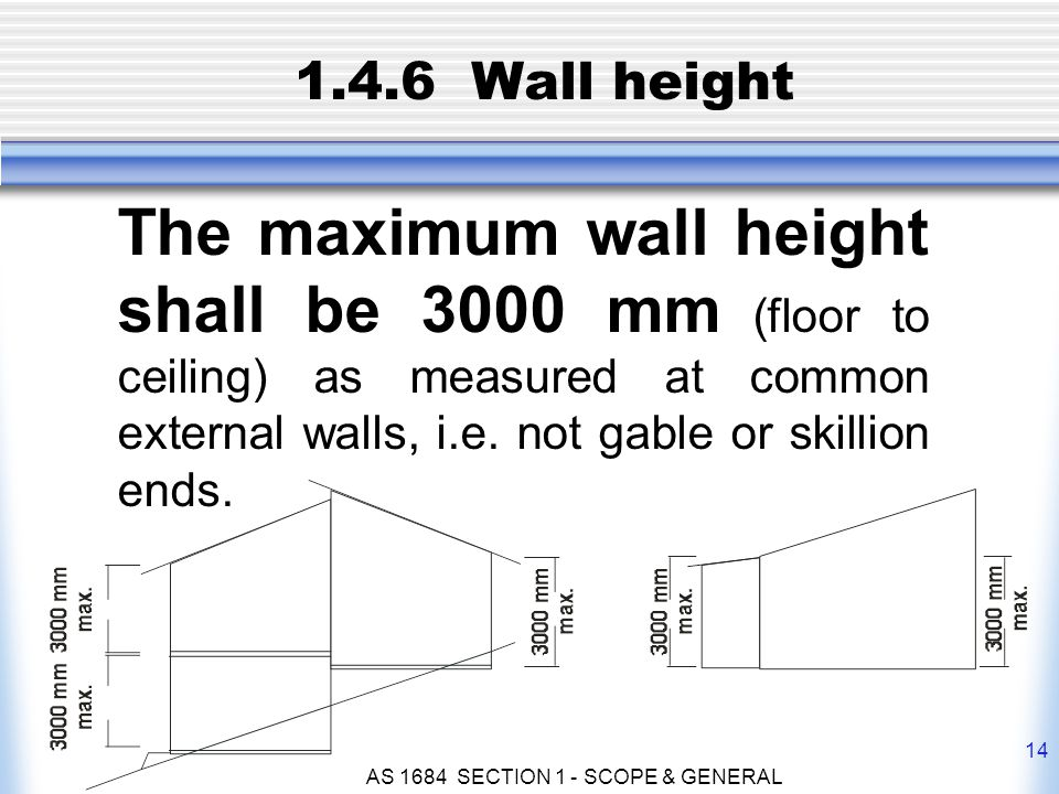 AS 1684 SECTION 1 - SCOPE & GENERAL 14 1.4.6 Wall height The maximum wall height shall be 3000 mm (floor to ceiling) as measured at common external wa