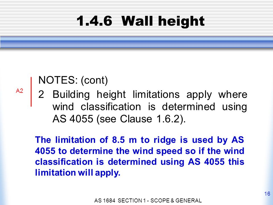 AS 1684 SECTION 1 - SCOPE & GENERAL 16 1.4.6 Wall height NOTES: (cont) 2Building height limitations apply where wind classification is determined usin