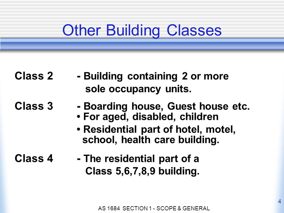 AS 1684 SECTION 1 - SCOPE & GENERAL 4 Class 2 - Building containing 2 or more sole occupancy units. Class 3 - Boarding house, Guest house etc. For age