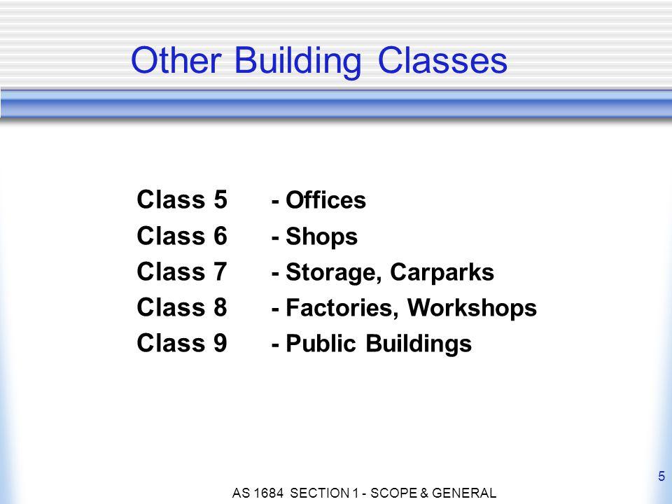 AS 1684 SECTION 1 - SCOPE & GENERAL 5 Class 5 - Offices Class 6 - Shops Class 7 - Storage, Carparks Class 8 - Factories, Workshops Class 9 - Public Bu