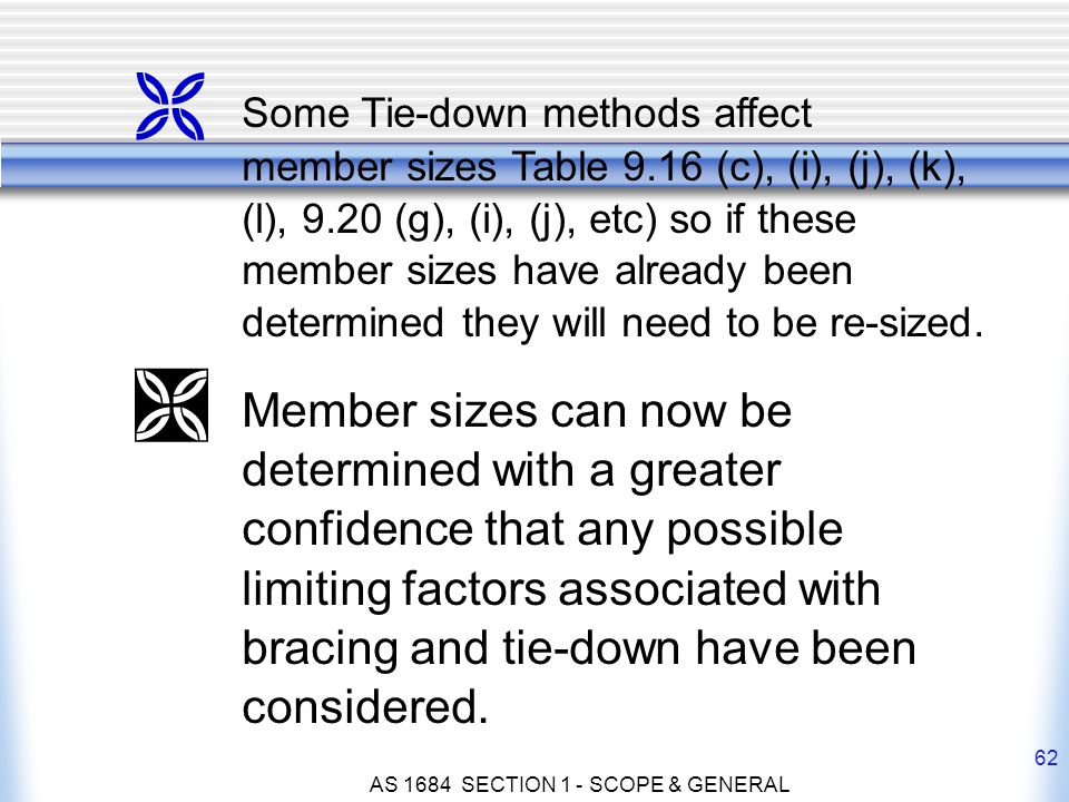 AS 1684 SECTION 1 - SCOPE & GENERAL 62 Ë Some Tie-down methods affect member sizes Table 9.16 (c), (i), (j), (k), (l), 9.20 (g), (i), (j), etc) so if