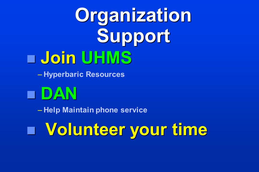 Organization Support n Join UHMS – –Hyperbaric Resources n DAN – –Help Maintain phone service n Volunteer your time