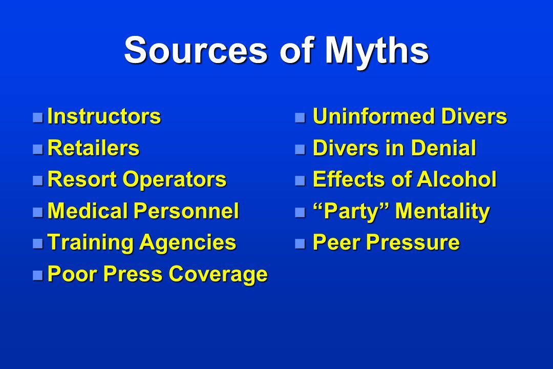 Sources of Myths n Instructors n Retailers n Resort Operators n Medical Personnel n Training Agencies n Poor Press Coverage n Uninformed Divers n Dive