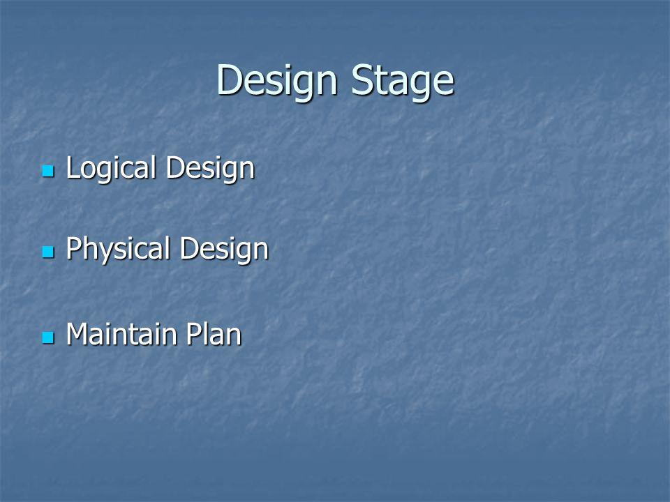 Design Stage Logical Design Logical Design Physical Design Physical Design Maintain Plan Maintain Plan