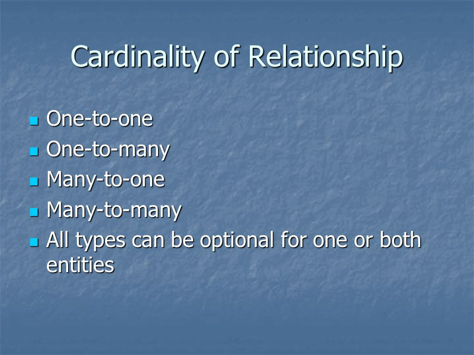 Cardinality of Relationship One-to-one One-to-one One-to-many One-to-many Many-to-one Many-to-one Many-to-many Many-to-many All types can be optional