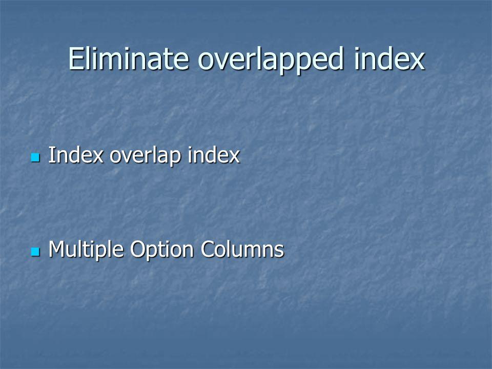 Eliminate overlapped index Index overlap index Index overlap index Multiple Option Columns Multiple Option Columns