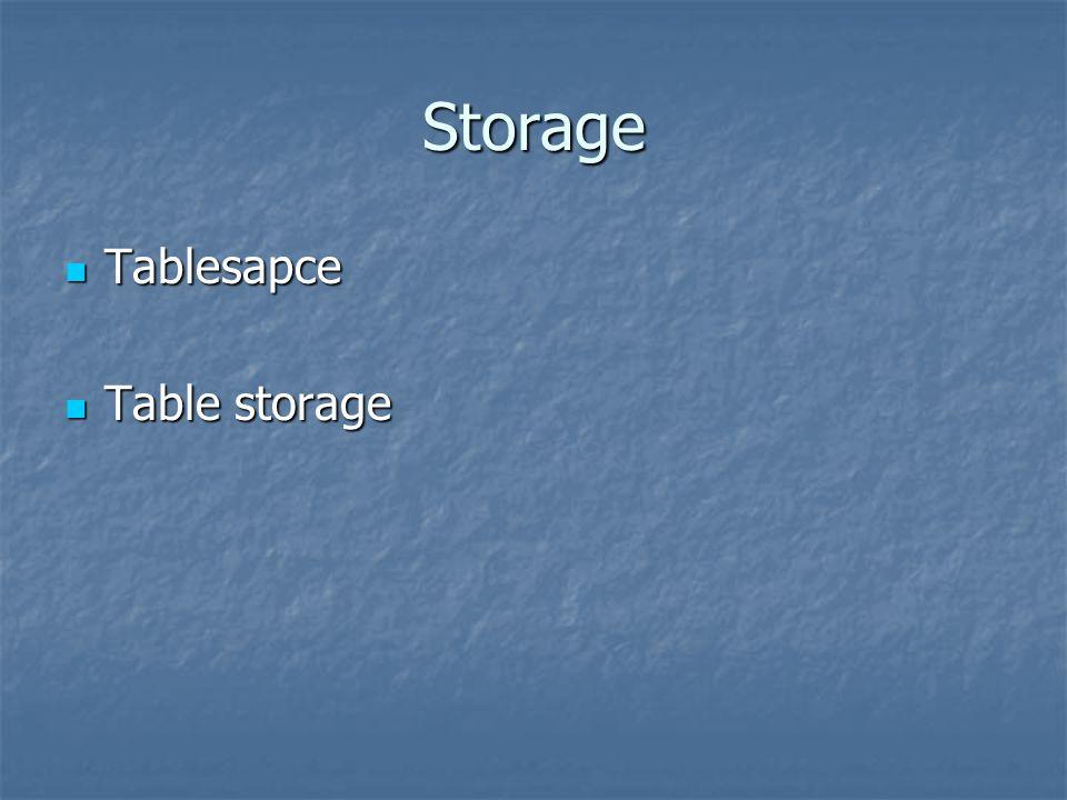 Storage Tablesapce Tablesapce Table storage Table storage
