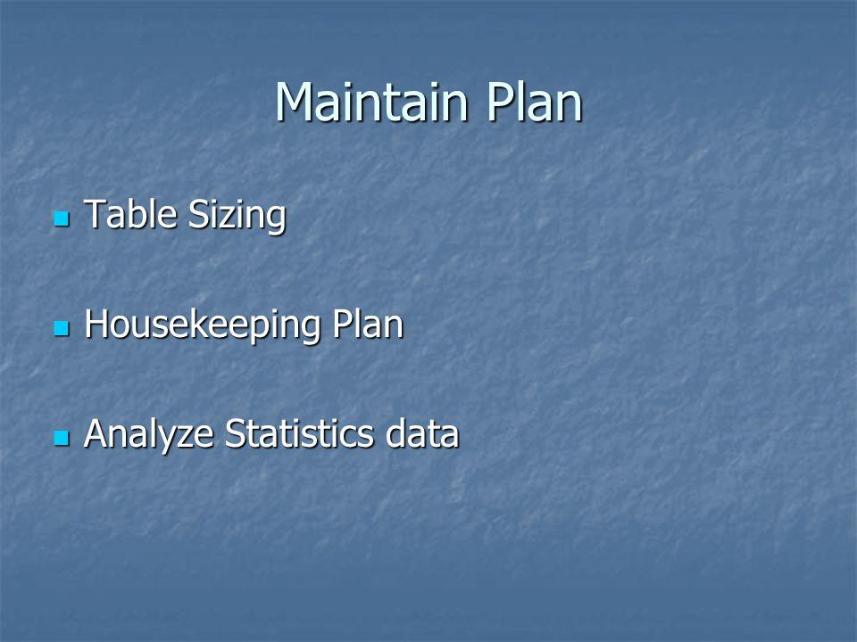 Maintain Plan Table Sizing Table Sizing Housekeeping Plan Housekeeping Plan Analyze Statistics data Analyze Statistics data