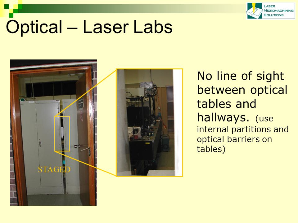 Optical – Laser Labs No line of sight between optical tables and hallways.