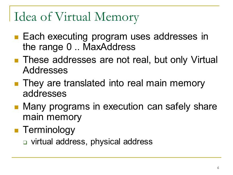 6 Idea of Virtual Memory Each executing program uses addresses in the range 0.. MaxAddress These addresses are not real, but only Virtual Addresses Th
