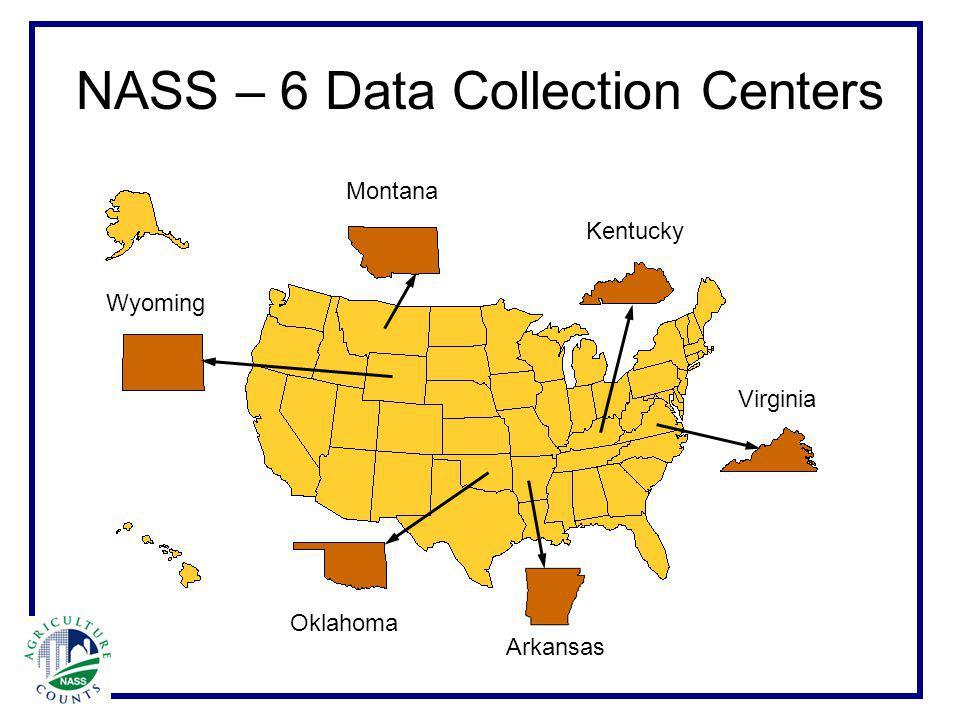 NASS – 6 Data Collection Centers Virginia Kentucky Montana Wyoming Oklahoma Arkansas