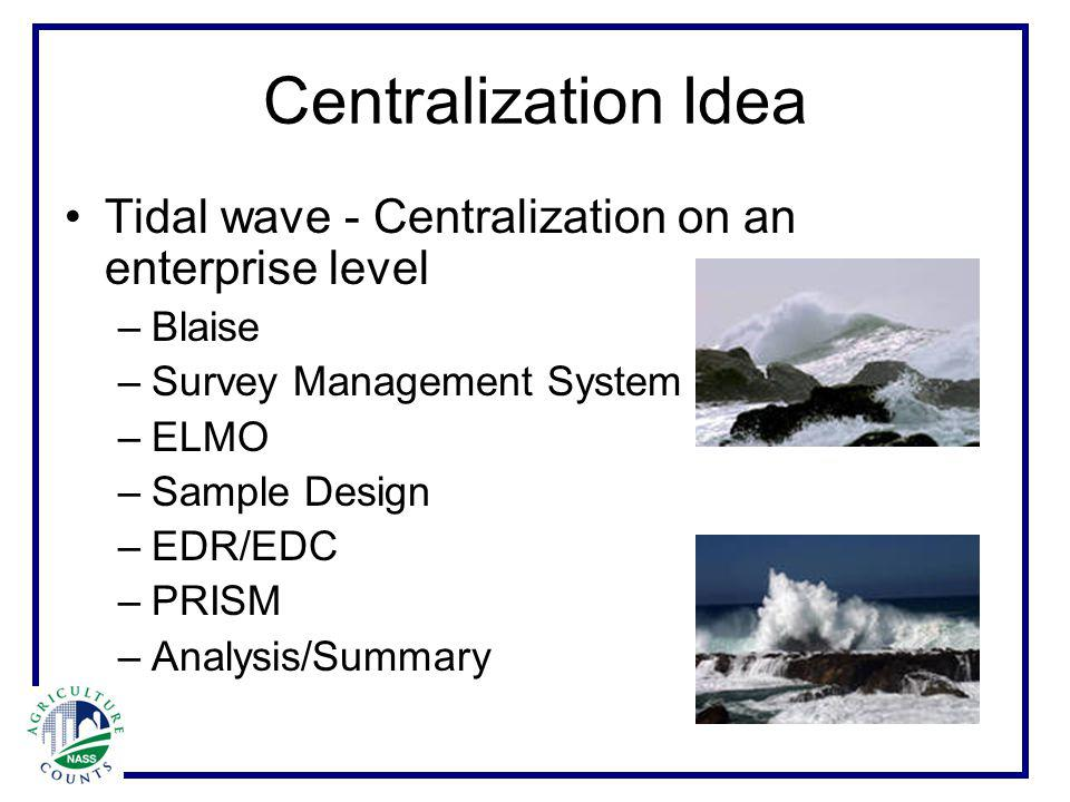 Centralization Idea Tidal wave - Centralization on an enterprise level –Blaise –Survey Management System –ELMO –Sample Design –EDR/EDC –PRISM –Analysis/Summary